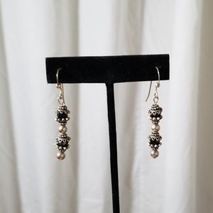 Silver Toned and Black Beaded Pierced Earrings